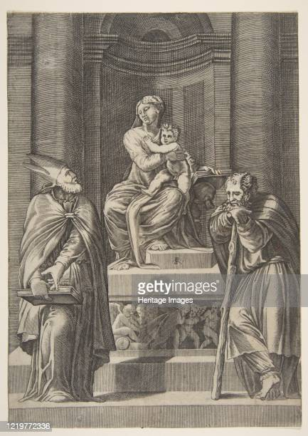 Saint Joseph at left and a bishop at right standing before the altar of the Virgin and Christ Child, circa 1515-27. Artist Marco Dente.