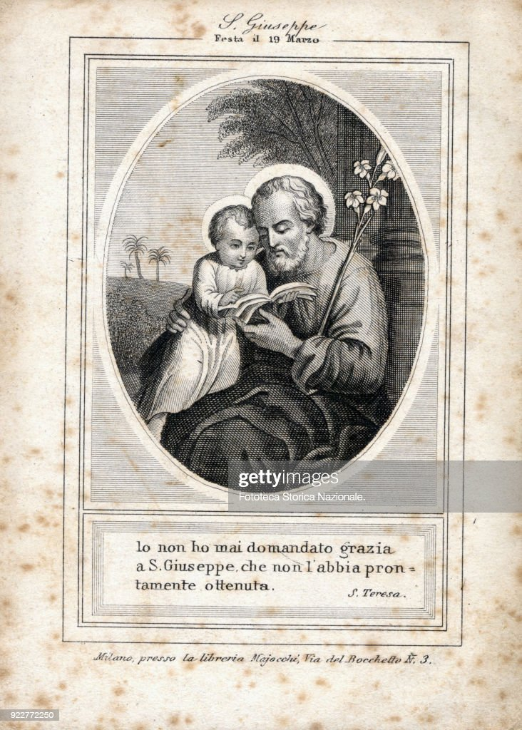 Saint Joseph, party on 19 March. Devotional image, engraving approx. 1880.