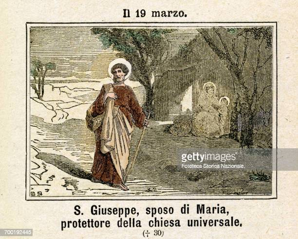 Saint Joseph the husband of Mary, commemoration on 198 March. Colored engraving from Diodore Rahoult, Italy 1886 .