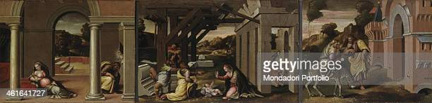 Saint Joseph's Dream, Christ's Nativity, Flight into Egypt, by Girolamo Marchesi also known as Girolamo of Cotignola, 1522 - 1523, 16th century, oil...