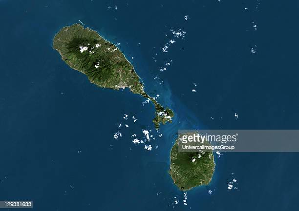 Saint Kitts and Nevis true colour satellite image The main island is Saint Kitts with the capital city Basseterre located on its south coast The...