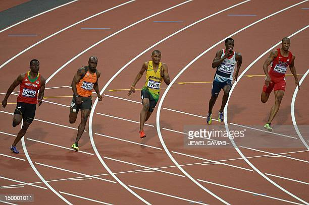 Saint Kitts Nevis' Antoine Adams The Netherland's Churandy Martina Jamaica's Warren Weir Britain's Christian Malcolm and US' Maurice Mitchell compete...