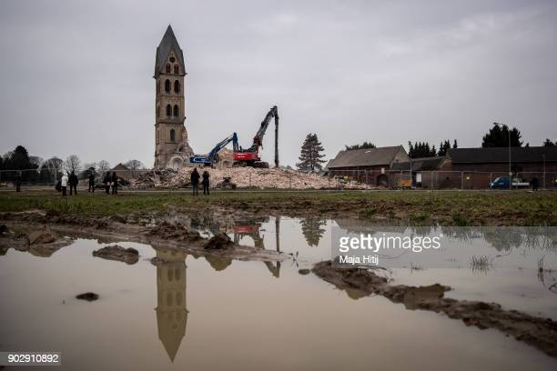 Saint Lambertus church is seen during demolition following protests by activists on January 9 2018 in Immerath Germany The village of Immerath will...