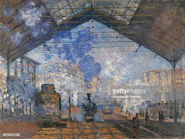 Saint Lazare Station by Claude Monet 19th Century oil on canvas5 x 104 cm France Paris Musée d'Orsay Detail A smoking train eneters the station