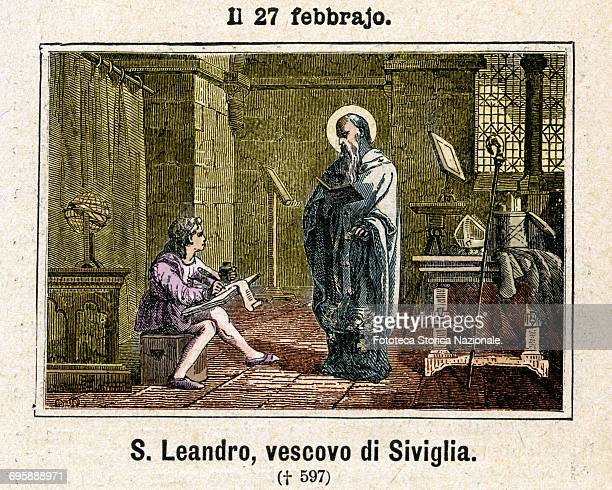 Saint Leandro , archbishop of Seville. He converted to the Arianism Ermenegildo and Recaredo I of the royal house Visigoth and with them the whole of...