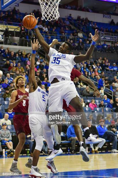 Saint Louis Billikens forward Reggie Agbeko tries to get a rebound during an Atlantic 10 Conference basketball game between the Saint Joseph's...