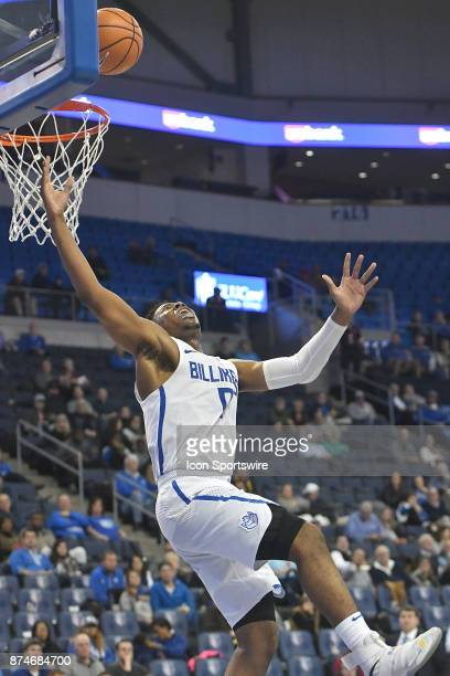 Saint Louis Billikens guard Jordan Goodwin looses his balance as he drives in for a shot during a non conference basketball game between the...