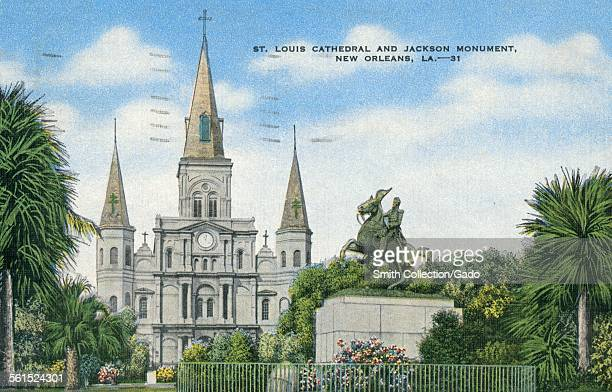 Saint Louis Cathedral and Jackson Monument New Orleans Louisiana 1939