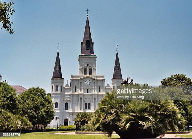 saint louis cathedral, new orleans - barrio francés fotografías e imágenes de stock
