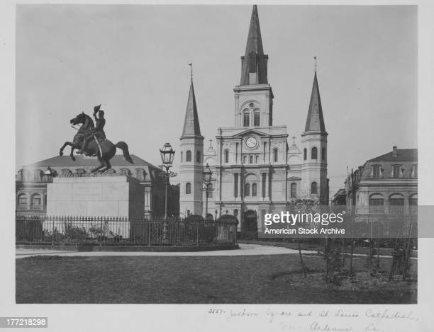 Saint Louis Cathedral the seat of the Roman Catholic Archdiocese of New Orleans Louisiana circa 19201950