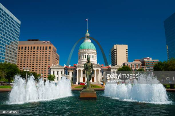 Saint Louis downtown with multiple landmarks and fountains