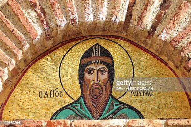 Saint Loukas Stereiotis, mosaic on the entrance arch to the complex of Hosios Loukas monastery , Distomo, Greece, 10th-11th century.