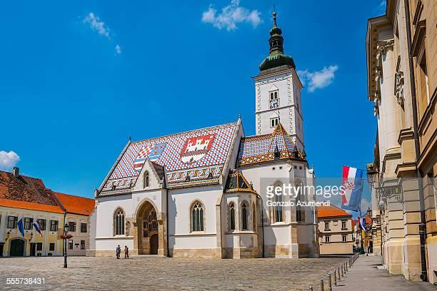 saint marks church in zagreb - zagreb stock-fotos und bilder