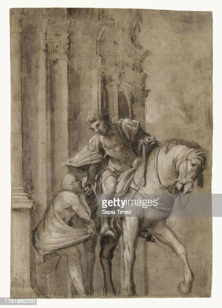 Saint Martin Dividing His Cloak with a Beggar Lorenzo Lotto Italian about 1480 1556 about 1530 Brush with graybrown wash heightened with white and...