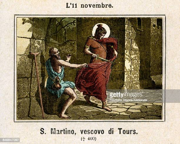 Saint Martin of Tours was a Christian bishop Commemoration November 11 Colored engraving from Diodore Rahoult Italy 1886
