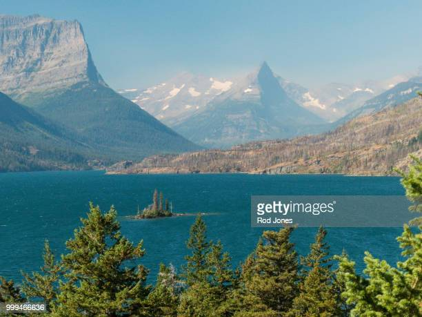 saint mary lake - mary lake stock photos and pictures