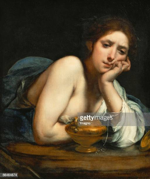 """Saint Mary Magdalen. Left corner: Hebrew inscription """"Blessed are the sorrowful, they shall be comforted"""". By Francesco Furini. Oil on canvas, around..."""