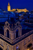 Saint Mary of the See largest cathedral in the world from rooftop in, Spain at dusk