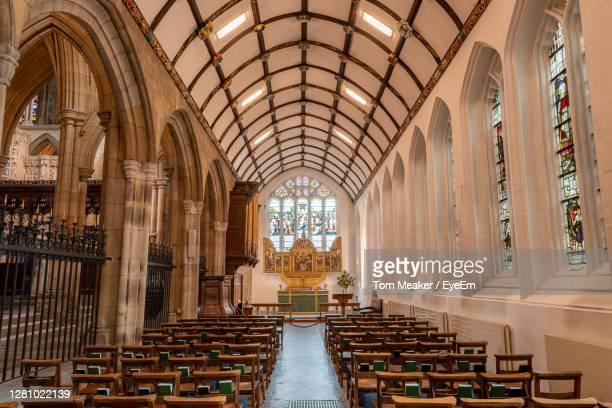 saint marys aisle in truro cathedral - truro cornwall stock pictures, royalty-free photos & images