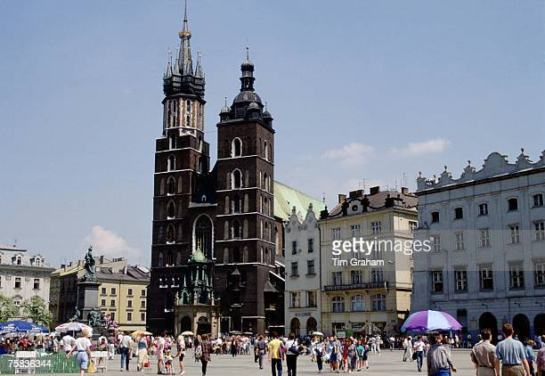 Saint Mary's Basilica in Old Town Square Krakow Poland