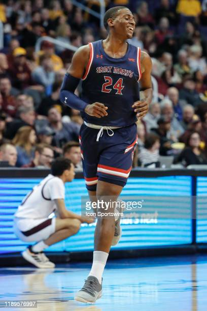 Saint Mary's College forward Malik Fitts smiles during the college basketball game between the Saint Mary's College Gaels and the Arizona State Sun...