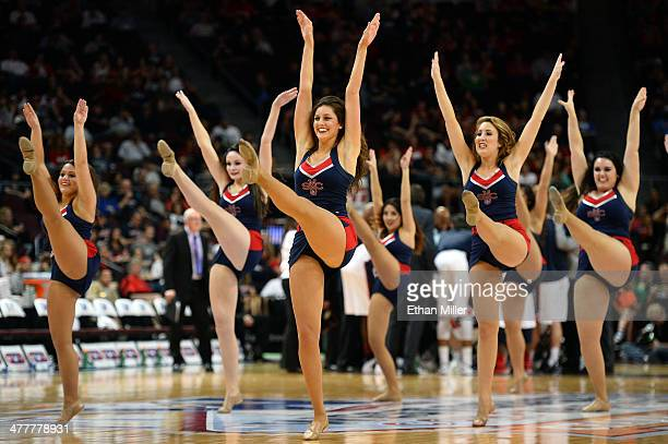 Saint Mary's Gaels cheerleaders perform during a semifinal game of the West Coast Conference Basketball tournament against the Gonzaga Bulldogs at...