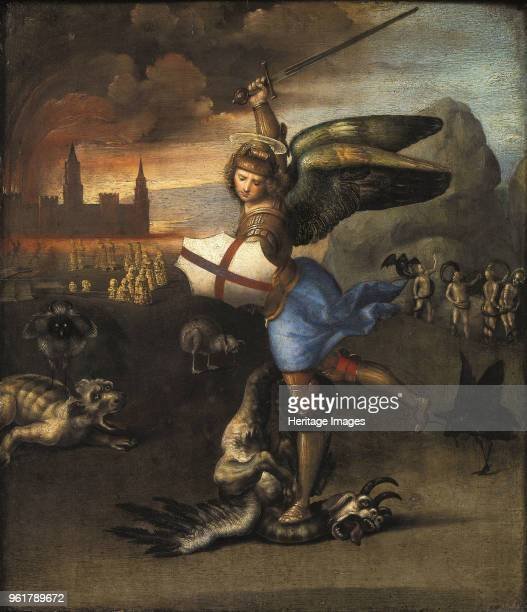 Saint Michael and the Dragon 15031505 Found in the Collection of Musée du Louvre Paris
