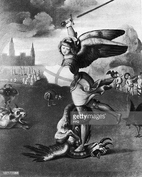 'Saint Michael and the Dragon' by Italian painter Raphael circa 1505 The painting depicts Saint Michael the Archangel defeating Satan in the form of...