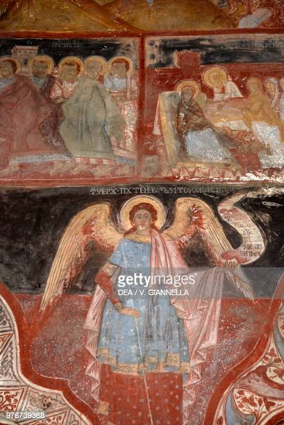 Saint Michael Arcangel frescoes in the church of the Assumption of the Virgin Mary Causeni Moldavia 18th century