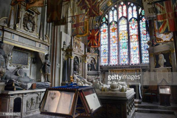 saint michael's chapel, also called warriors chapel, in the south west transept of canterbury cathedral, in kent, england. - image stock pictures, royalty-free photos & images