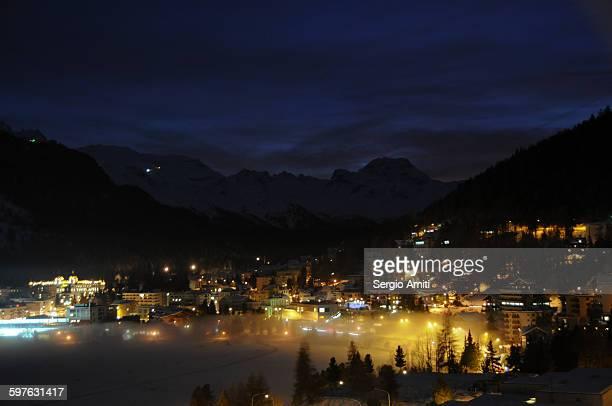 Saint Moritz lake lit up at night