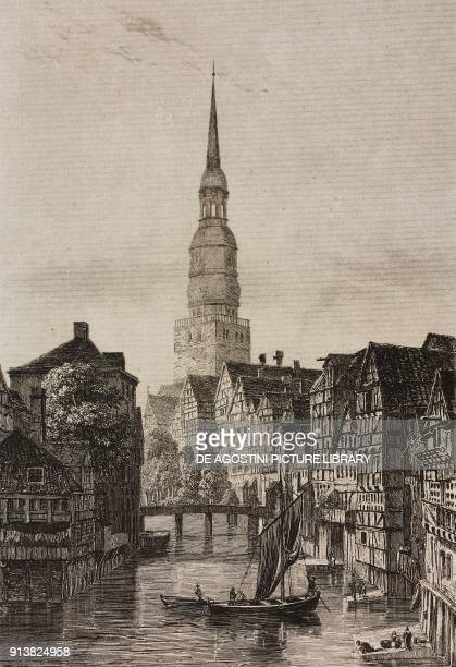 Saint Nicholas' Church Hamburg Germany engraving by Lemaitre from Villes Anseatiques by Roux de Rochelle L'Univers pittoresque published by Firmin...