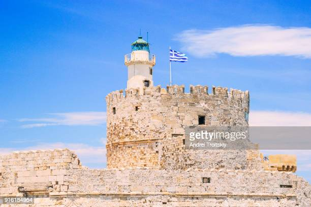 Saint Nicholas fortress With lighthouse at port of Rhodes, Greece