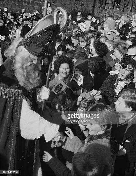 Saint Nicholas Giving Presents To Children In Rotterdam On November 16Th 1963