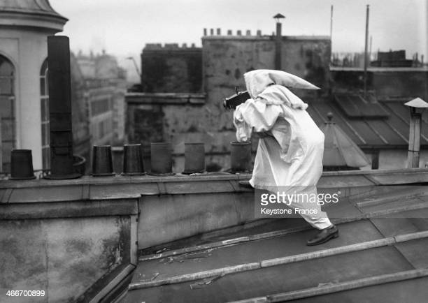 Saint Nicholas on the roofs of Paris on Saint Nicholas Day in December 1929 in Paris France