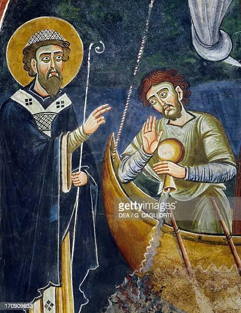 Saint Nicholas saving pilgrims from shipwreck detail from the Stories of Saint Nicholas Romanesque fresco Byzantine style late 11th century Chapel of...