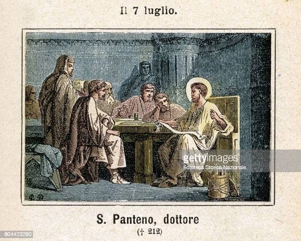 Saint Panteno Doctor of the Church Colored engraving from Diodore Rahoult Italy 1886