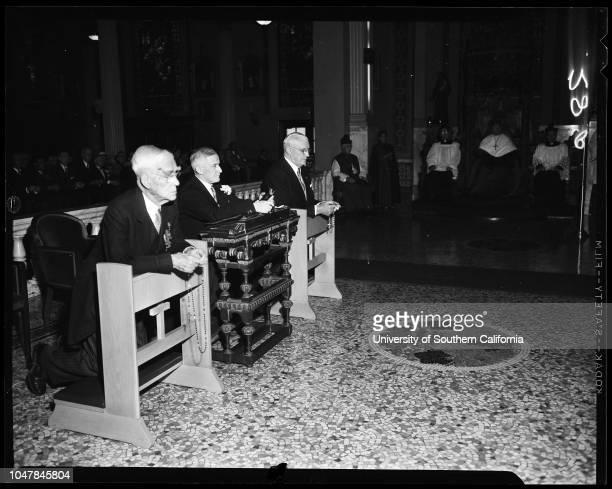 Saint Patrick Day High Mass at Saint Vibiana's, 17 March 1955. Attorney Joseph Scott;John Joseph Hearne;Monsignor Aldon Bell.;Caption slip reads:...