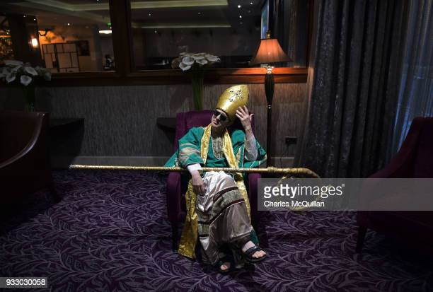 Saint Patrick played by an actor gets into character before the annual Saint Patrick's day parade takes place on March 17 2018 in Dublin Ireland...