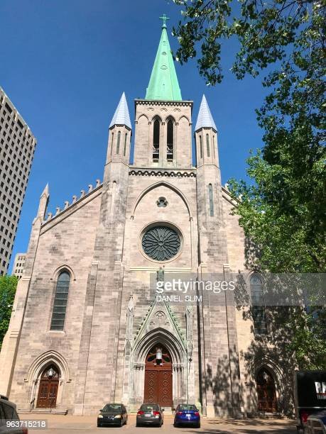 Saint Patrick's Basilica a Roman Catholic minor basilica on RenéLévesque Boulevard in downtown Montreal Quebec is pictured on May 30 2018 The...