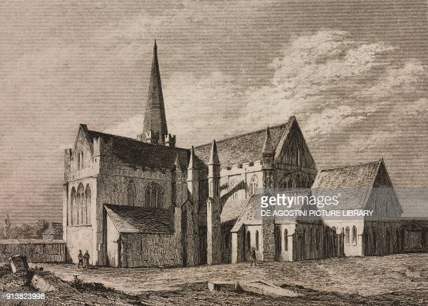 Saint Patrick's Cathedral Dublin Ireland engraving by Lemaitre from Angleterre Ecosse et Irlande Volume IV by Leon Galibert and Clement Pelle...
