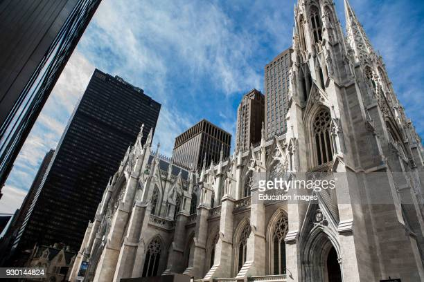Saint Patrick's Cathedral Low Angle View New York City USA