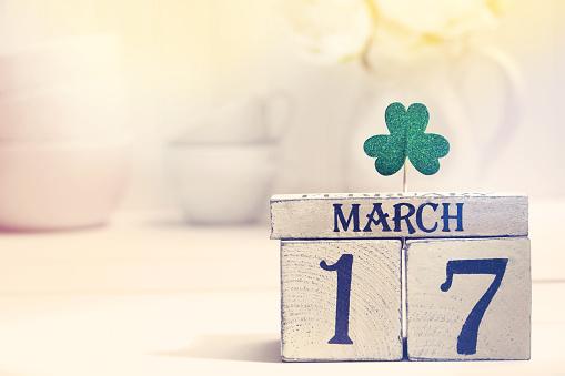 Saint Patricks Day green clover with calendar 926250220