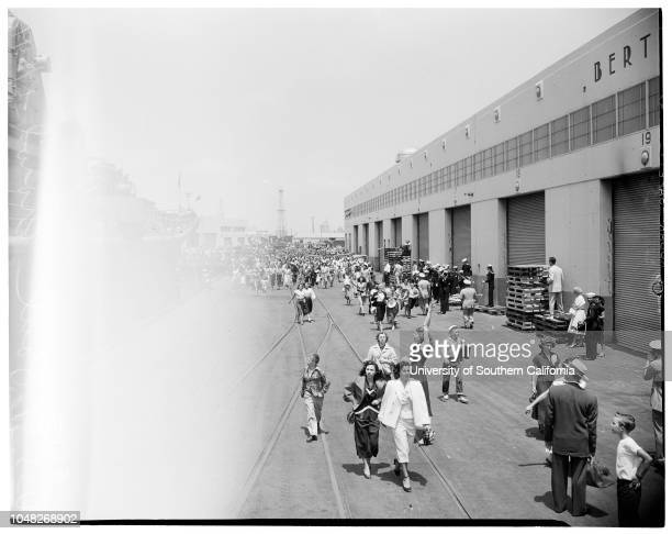 USS Saint Paul arrival in Long Beach June 24 1952 Chief Petty Officer AE Schroll and wife Helen SchrollFrancis Schlude age 3 and mother Mrs Dorothy...