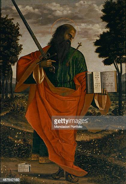 Saint Paul by Vittore Carpaccio 16th Century oil on board 190 x 134 cm Italy Veneto Chioggia Church of San Domenico Detail A male figure standing up...