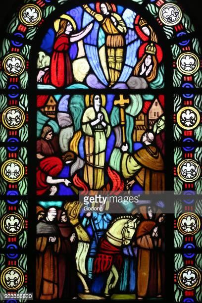 Saint Paul church Stained glass window by A Cingria Joan of Arc Geneva Switzerland