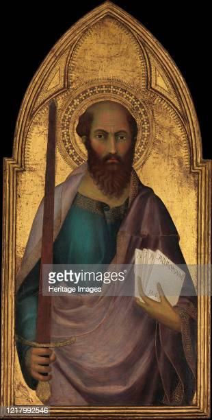 Saint Paul, circa 1330. Painted for the church of San Francesco in San Gimignano, a hill town south of Florence. Paul holds the sword of martyrdom...