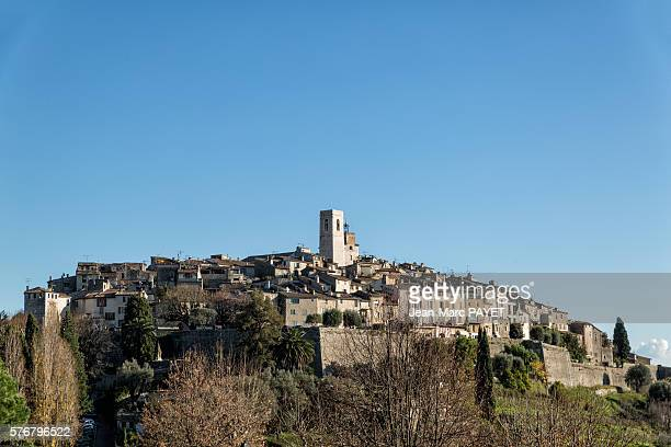 saint paul de vence and its church - jean marc payet stock pictures, royalty-free photos & images