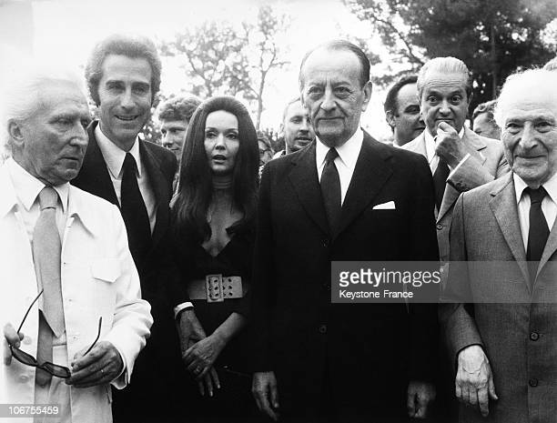 Saint Paul De Vence, Foundation Maeght, Andre Malraux With Marc Chagall And Ludmilla Tcherina And Jacques Chazot. 1964