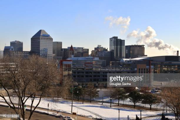 Saint Paul Downtown City Skyline during Winter